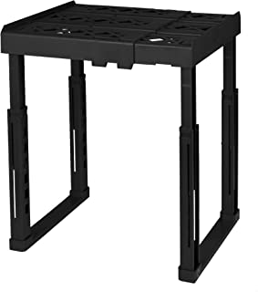 "Tools for School Locker Shelf. Adjustable Width 8"" - 12 1/2"" and Height 9 3/4"" - 14"". Stackable and Heavy Duty. (Black, Single)"