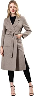 Spring Air Womens Long Double Faced 100% Pure Wool Coat, Belted Melange&Solid Parka Outwear