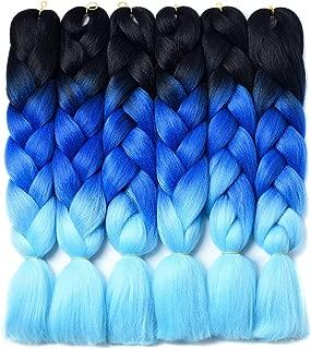 Ombre Braiding Hair Kanekalon Braiding Hair Synthetic Hair Extensions for Braiding Crochet Twist Box Braids 24 Inch 3 Tone Black to Royal Blue to Sky Blue 6 Packs Jumbo Braiding Hair
