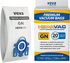 VEVA 20 Premium HEPA Vacuum Bags Style GN Compatible with Miele Vacuums Complete C3, C2; Classic C1 and AirClean 3D Efficiency Canister Bag
