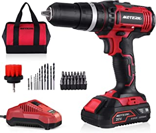 Meterk 20V MAX Cordless Drill/Driver Kit, Compact, 350 In-lbs Torque, 16+1 +1 Torque Setting, Fast Charger 2.0A, 0-1400RPM...