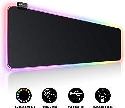 پد ماوس بزرگ RGB Gaming - 15 حالت نور کنترل لمسی نرم افزاری نرم افزار صفحه کلید کامپیوتر، لبه های دوخته شده و پایه لاستیک غیر لغزش برای Gamer، Esports Pros، Office Work 31.5X11.8in