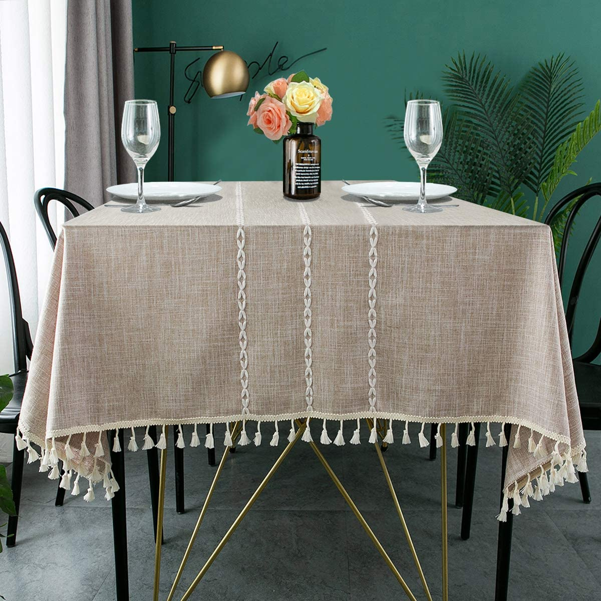 Limited time cheap sale ARICHOMY Fresno Mall Table Cloth Square Tablecloth Stitching Linen Cotton A