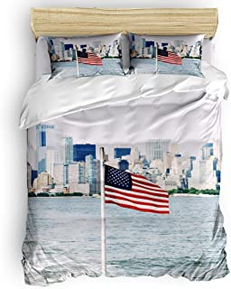 LnimioAOX Juego de Funda nórdica de 3 Piezas con Bandera Estadounidense City Scape con 2 Fundas de Almohada Decorativas, Colcha, Edificio de la Ciudad Junto al Lago