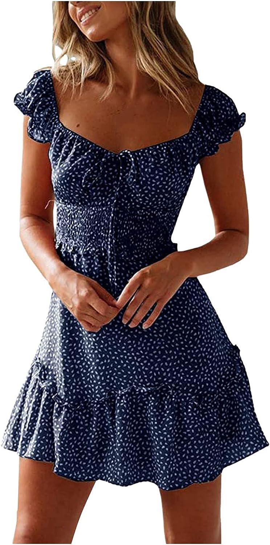 Dresses Maxi Dress Summer Dress Sundress Women Square Collar Vintage Floral Print Short Sleeve Beach Mini Dress