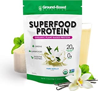 Superfood Protein, Plant-Based Protein Powder – Superfood + Greens for Immune Support – Lean, Organic, Vegan, Keto, Paleo,...