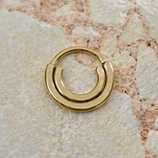 Gold SEPTUM RING // Hammered Nose Ring - Septum Jewelry 16g - Daith Hoop - Septum Earring - Nipple Jewelry - Septum Piercing - Forward Helix Jewelry