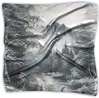 Pizeok Paint Landscape Print 100% Silk, Silk Scarf Square, Small Handkerchief, Bandana Classic Square Scarf Small