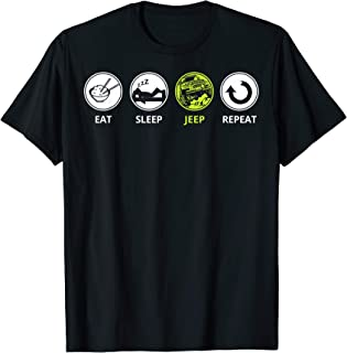Funny Off Road Driving T-Shirt - Eat Sleep Jeep Repeat Tee