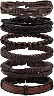 MILAKOO 6 Pcs Punk Braided Leather Bracelets for Men Women Cuff Wrap Wristbands Adjustable