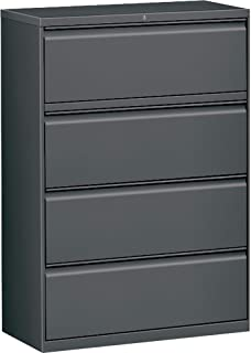 Lorell 4-Drawer Lateral File, Charcoal, 42 by 18-5/8 by 52-1/2-Inch
