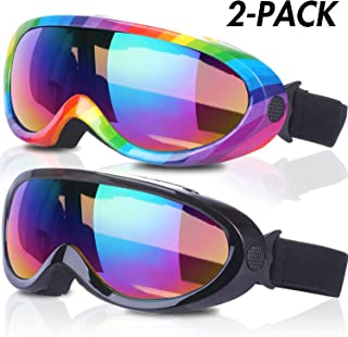 RNGEO Ski Goggles, Pack of 2, Snowboard Goggles for Kids, Boys & Girls, Youth, Men & Women, with UV 400 Protection, Wind Resistance, Anti-Glare Lenses, New Edition