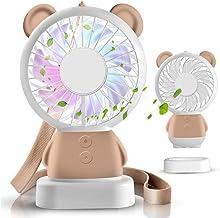 Mini Personal Fan Schattige & Adorable USB oplaadbare draagbare ventilator, kleine ventilator met multi-color LED-licht, 2...