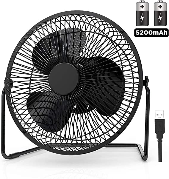 EasyAcc 9 Inch Battery Operated Desk Table Fan With Built In Rechargeable 5200mAh Battery 16 Hours 4 Speeds Quiet Personal Portable Cooling Floor Fan 360 Rotation For Home Outdoors Camping Hurricane