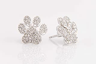 Paw Print Earrings – Pet and Dog Lover Gift - Sterling Silver with Crystals