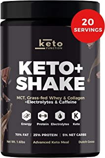Dutch Chocolate Keto Shake - Low Carb High Fat Keto Meal Replacement Shake - MCT Oil Powder - Grass-Fed Whey - Collagen Protein - Tastes Great Mixes Easily - Keto Diet Approved… (Bottle)