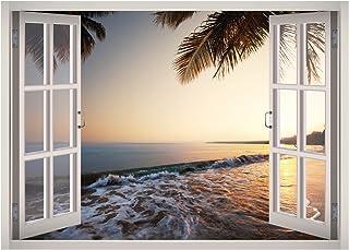 West Mountain Beach Water View Window 3D Wall Decal Art Removable Wallpaper Mural Sticker Vinyl Home Decor W65 (Small (2...