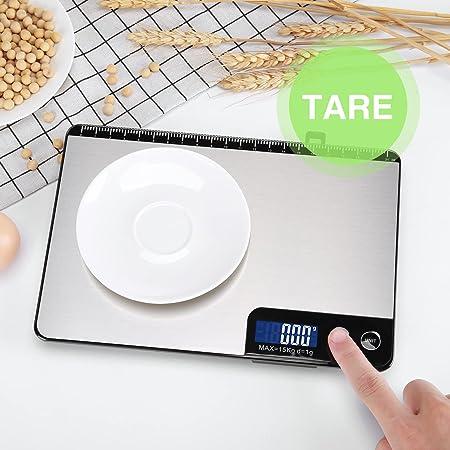 HOMEVER Balance Cuisine-Modèles à boutons, 15kg Balance de Cuisine Electronique de Haute Précision, Fonction de règle, Arrêt Automatique, Fonction Tare, Clé Sensible, 2 Piles aaa inclus