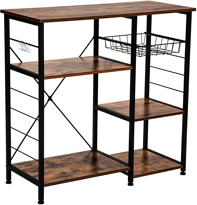 IRONCK Industrial Kitchen Baker S Rack Kitchen Island Utility Storage Shelf Microwave Stand With 6 Hooks Metal Frame Simple Assembly Vintage Brown