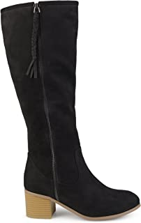 Womens Regular and Wide Calf Faux Suede Mid-Calf Stacked Wood Heel Boots
