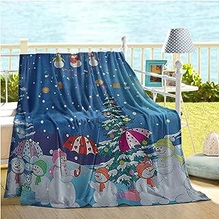 Christmas Snowman Swaddle Blanket,Winter Snowkids Snowing Moonlight Snowflakes Digital Print Blue Yellow White Fuchsia,Bamboo Blanket Pink Green Machine Washable 70