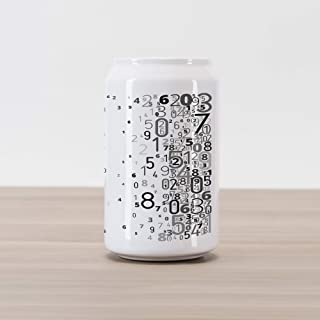 Ambesonne Modern Cola Can Shape Piggy Bank, Vector School Design Mathematic Frame Like Numbers in a Row Image Work of Art, Ceramic Cola Shaped Coin Box Money Bank for Cash Saving, Black and White