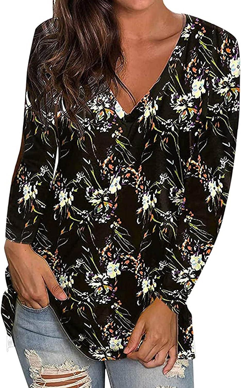 Womens Graphic Tees Fashion Autumn Printing Blouse Tops V-Neck Long Sleeve T-Shirt Hoodies