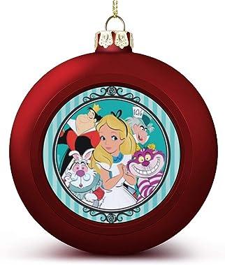 COLOUR Alice in Wonderland EdibleLarge Christmas Ornaments Balls,Big Christmas Ornaments Balls,Christmas Tree Balls,Plastic C