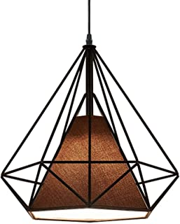 FEE-ZC Retro Pendant Light Shade, Vintage Modern Pendant Lamp Shade Matal Basket Cage Lampshade in Diamond Form with Fabri...