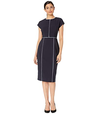 Maggy London Mystic Crepe Color Block Sheath Dress (Dark Navy/Sky Blue) Women