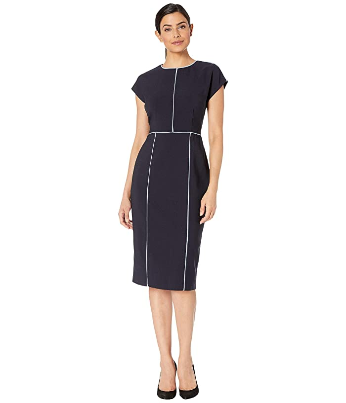 Maggy London  Mystic Crepe Color Block Sheath Dress (Dark Navy/Sky Blue) Womens Dress