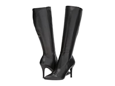 Nine West Fallon Tall Dress Boot (Black/Black Leather) Women