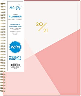"Blue Sky 2020-2021 Academic Year Weekly & Monthly Planner, Flexible Cover, Twin-Wire Binding, 8.5"" x 11"", Cali Pink"