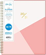"""Blue Sky 2020-2021 Academic Year Weekly & Monthly Planner, Flexible Cover, Twin-Wire Binding, 8.5"""" x 11"""", Cali Pink"""