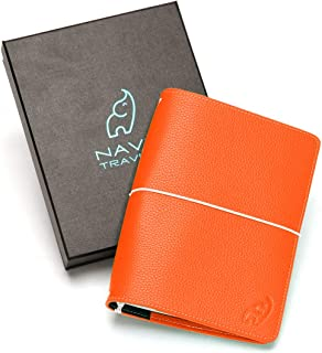 Travelers Notebook - A Refillable Travel Journal Planner – Tangerine B6 Travelers Notebook Made with a Premium, Scratch Resistant Leather Cover- 5 inch x 7 inch Slim Leather Journal by Navie Travels