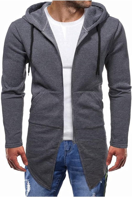 Long Hoodie for Men Lightweight Long Sleeve Open Front Sweatshirt with Pockets Solid Color Long Hem Cardigan Top