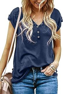GOSOPIN Women Summer Short Sleeve Button Tunic Tops V Neck T-Shirt