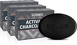 Amazon Brand - Solimo Activated Charcoal Soap (Pack of 3, 375g)