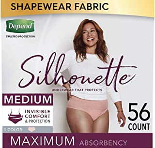 Depend Silhouette Incontinence and Postpartum Underwear for Women, Maximum Absorbency, Disposable, Medium, Pink, 56 Count...