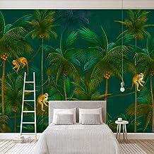 RCIFGU Papel tapiz fotográfico Autoadhesivo Papel Pintado Cocotero mono bosque tropical moderno murales, sala de estar, do...
