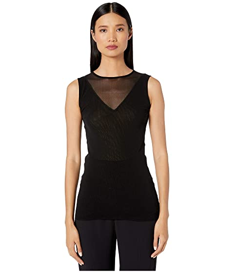FUZZI Solid Black Tank Top with Illusion Detail
