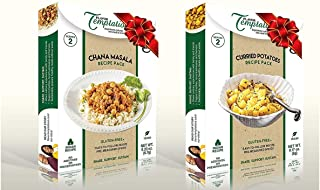 Vegan Indian Entree Spice Kits for Chana Masala and Potato Curry - 4 pack, Gluten-Free, Salt-Free, Pre-Measured Organic Ethnic Spices to Cook from Scratch