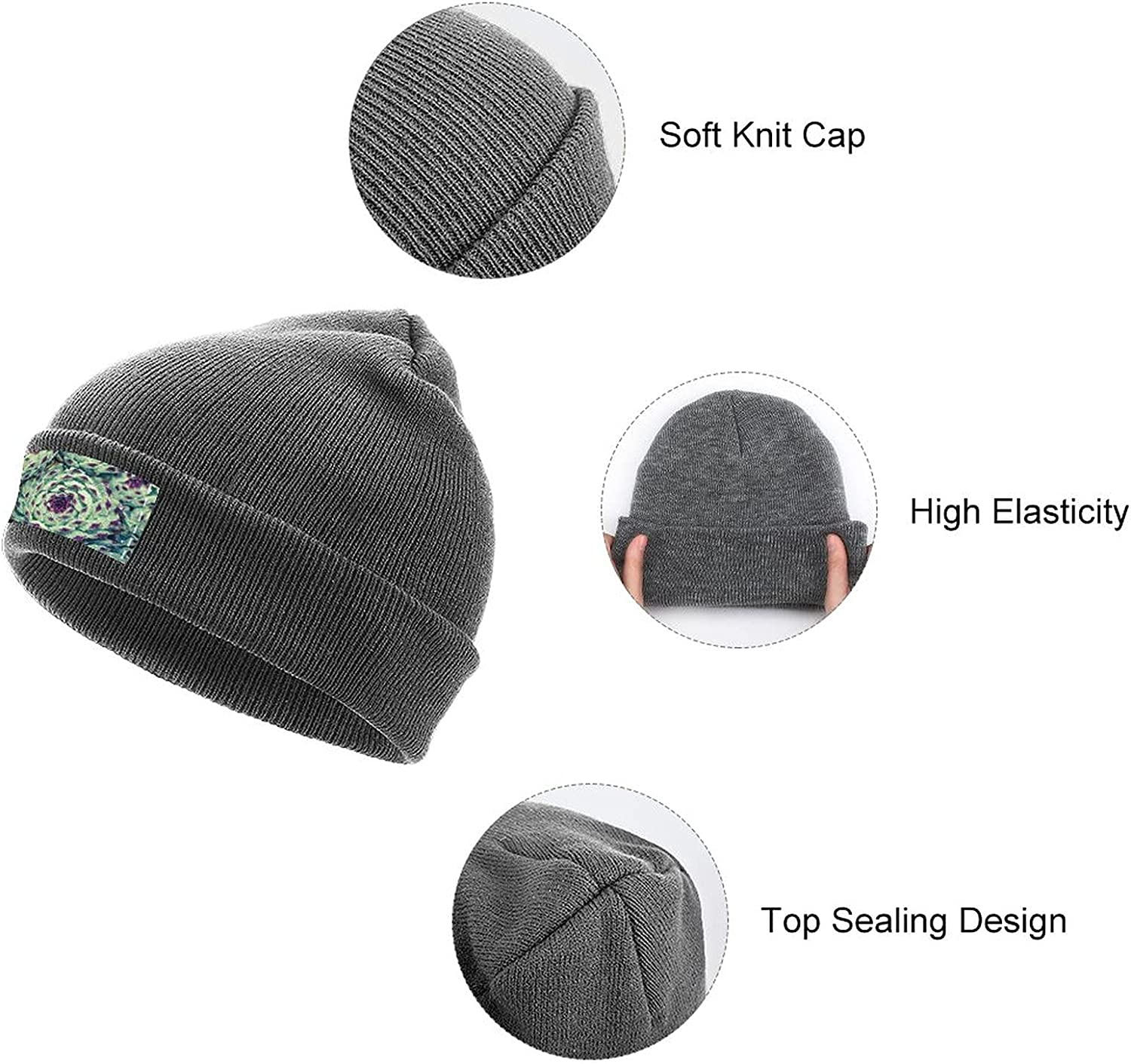 Layers of Plants Rain Drops Men's and Women's Knitted Hat, Breathable Skull Cap,