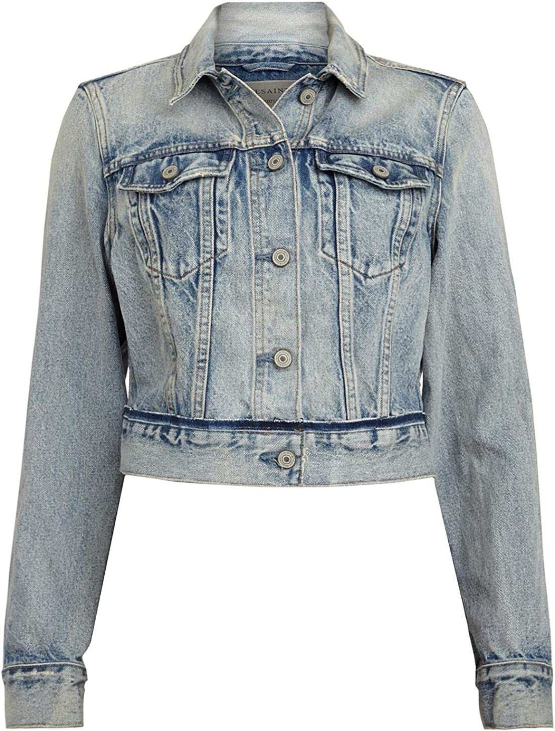 AllSaints Hay Cropped Denim Jacket Large
