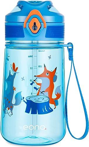 Amazon Brand - Eono Botella de Agua Niños, 420ml Reutilizable Tritan Plástico sin BPA Botella Agua Niños a Prueba de ...