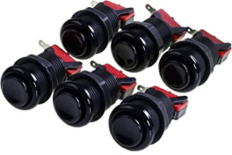 Atomic Market American Style 28mm Standard Arcade Push Button 6 Pack Black with Microswitch
