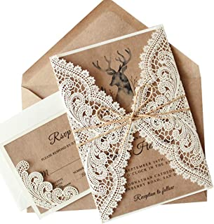 Picky Bride Rustic Vintage Lace Wedding Invitations with RSVP Cards and Envelopes, 1 Set Elegant Wedding Invitation Cards Sample