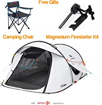 Quechua Pop Up Camping Tent - Waterproof 2 Seconds Fresh & Black Easy Set Up and Fold Extra Dark Interior