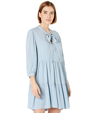 WAYF Logan Tie Neck Tiered Mini Dress