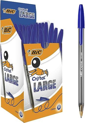 BIC Ecriture Cristal Large Stylos-Bille Pointe Large (1,6 mm) - Encre Fluide - Couleur Bleue, Boîte de 50